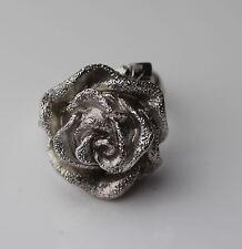 Silber 925Designer Ring eine große Rose Italien Vintage 70er