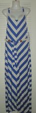 ALMOST FAMOUS RACER BACK STRIPED NAUTICAL BELTED LONG MAXI DRESS JRS XL