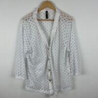 TS Taking Shape Shirt Top Womens Plus Size Small White Polka Dot Long Sleeve