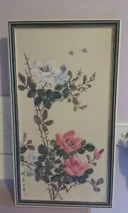 Asian signed  water color on fabric flowers painting