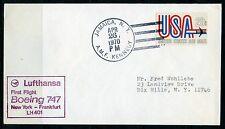 US FIRST FLIGHT COVER BOEING 747  LUFTHANSA NEW YORK TO FRANKFURT APR 26 1970