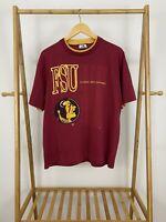 VTG 90s Florida State University Seminole Short Sleeve T-Shirt Size XL USA