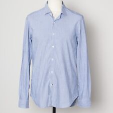 TRUZZI UP 43/17 BLUE STRIPED COTTON LINEN LUXURY DRESS SHIRT · MADE IN ITALY