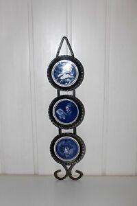Vintage Black Metal Iron & Porcelain Insert Wall Plaque Blue White Ceramic Decor