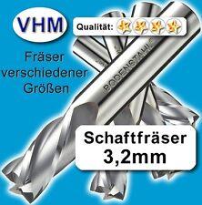 Schaftfräser 3,2mm f. Kunststoff Holz Vollhartmetall scharf geschliffen 40mm Z=4