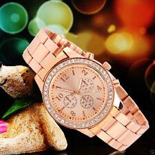Mode Geneva Edelstahl Damen Frauen Kristall Analog Quarz Armbanduhr