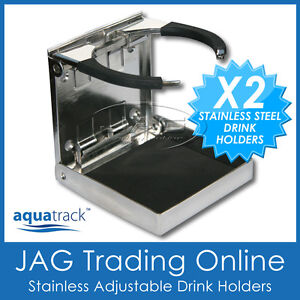 2 x STAINLESS STEEL ADJUSTABLE FOLDING CUP DRINK HOLDERS-MARINE/BOAT/CARAVAN/CAR