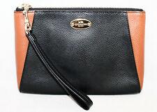 COACH F64848 Black & Saddle Tan Colorblock Leather Wristlet