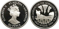SAINT HELENA & ASCENSION 50 PENCE 1994 KM#19a ARGENT SILVER