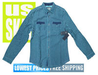 Guess Men's NWT Green & Black Checkered Long  Sleeve Button Front Shirt MEDIUM