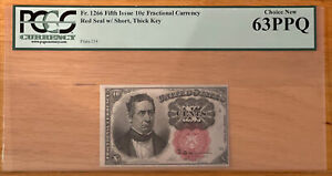 FR. 1266 10C FRACTIONAL CURRENCY RED SEAL W/ SHORT THICK KEY PCGS GRADED 63PPQ