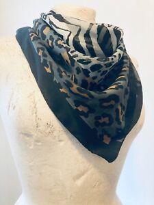 ANIMAL Print 80's Women's Self Stripe Chiffon Scarf Size 34x34 Inches