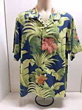 TOMMY BAHAMA Hawaii Hibiscus Flower and Palm Leaf Pattern 100% Silk Sz M