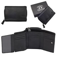 Ladies Womens Luxury Super Soft Genuine Leather RFID Blocking Wallet Purse Black