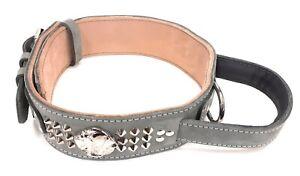Grey Heavy Duty Leather Dog Collar with American Bulldog Head Motif and Handle