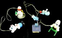 Miniature Christmas Ornaments Wooden Vintage  Lot of 6 Doll House Size