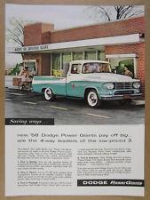 1958 Dodge W100 Power Giant Pickup green & white truck photo vintage print Ad