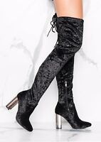 No Doubt Crushed Velvet Thigh High Boots  - Black -  UK Size 7