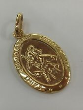9ct 9K Yellow Gold St Christopher Oval Medallion Pendant 3 Grams. Brand New