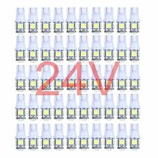 50pcs 24V T10 Wedge 5-SMD 5050 White LED Light bulbs W5W 2825 158 192 168 194