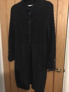 Laura Ashley Navy Blue Coatigan Long Cardigan Size 14