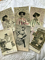 Lot 6 Vtg French France Postcard Series Set RPPC Women Gibson Girl Crossdress 09