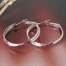Eternity wedding hoop earrings 18k white gold filled lady Clear hoop earring