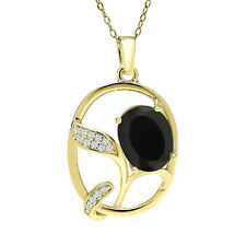 2.67 Ct Oval Black Onyx 18K Yellow Gold Plated Silver Pendant
