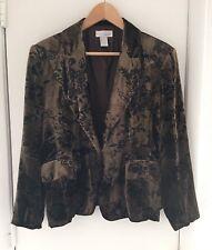 Spiegel Women's Brown Black Floral Velvet Fitted Jacket Pockets Sz 18 EUC