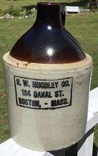 ANTIQUE VINTAGE 1 GAL H.W. HUGULEY CO. 134 CANAL ST. BOSTON MASS STONEWARE JUG