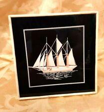Vintage Handmade Schooner Cut Work 3D Art in Shadow Box Frame