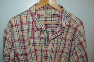 LL BEAN SEERSUCKER plaid longsleeve button down XXLT Tall Mens Shirt