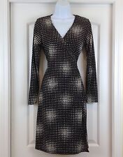 The Limited Brown Cream Long Slve Surplice Bodice Jersey Size XS True Wrap Dress