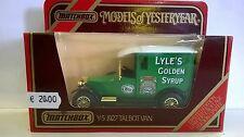 MATCHBOX 1:47 AUTO DIE CAST TALBOT VAN 1927 VERDE LYLE'S GOLDEN SYRUP ART Y-5 Y5