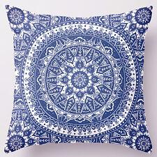 18'' Super Soft Cotton Velvet Blue & White Floral Pillow Case Cushion Cover RC18
