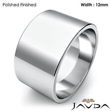 Wedding Band Women Plain Flat Pipe Cut Ring 12mm Platinum 950 16.1gm Sz 5 - 5.75