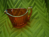 """Vintage IMPERIAL CARNIVAL GLASS """"LUSTRE & CLEAR"""" CREAMER RIBBED PATTERN~MARIGOLD"""