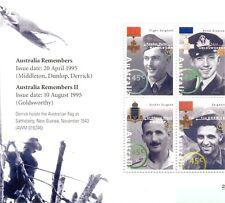 Australia en guerra recuerdo Guerra Héroes estampillada sin montar o nunca montada Shet/panel