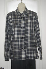 vtg CACHAREL France gray ivory plaid button down blouse long sleeve shirt M 8 10