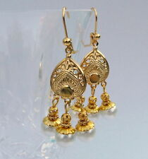 White Pearl Gold Plated Bollywood Indian Style Chandelier Prom Bridal Earrings