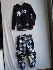 WOMENS motocross combo set ; FLY pants size 3/4 ,ONEAL jersey MEDIUM blk/wht