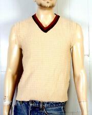 vtg 60s Sears Kings Road Men's Shop 2 Tone Brown Beige V-Neck Sweater Vest M