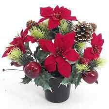 NATALE Pot of Poinsettia con frutta e CONI-ARTIFICIALI DECORAZIONI