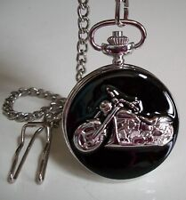 Men's  Clip On  BIKE Silver Tone Pocket Watch With Chain