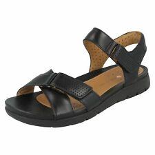 Ladies Clarks Unstructured Sandals Un Saffron UK 5 Black Leather D