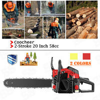 "COOCHEER 58cc Chainsaw 20"" Bar Gasoline Powered Chain Saw Engine 2 Stroke"
