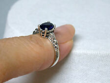 BLUE SAPPHIRE ANTIQUE 925 STERLING SILVER SCROLL RING SIZE 5 USA MADE