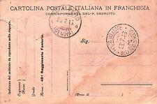 CARTOLINA FRANCHIGIA MILITARE REGIO ESERCITO 49° FANTERIA ZAPPATORI 1916 C10-252