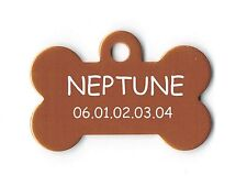 medaille gravee chien ou chat - modele grand os neptune - orange