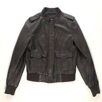 $495 TRUE RELIGION Brown Lambskin Leather Womens Bomber Zip Up Jacket Coat Sz M